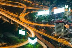 Night light aerial view, Highway intersection Stock Photography