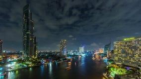 Night light bangkok city chao phraya river roof top panorama 4k time lapse thailand stock footage