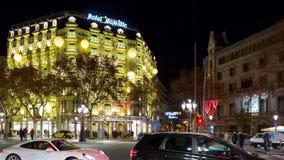 Night light barcelona traffic crossroad 4k time lapse spain stock footage