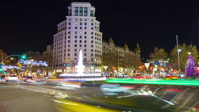 Night light barcelona traffic crossroad 4k time lapse spain stock video footage