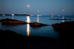 Night light boats Stock Images