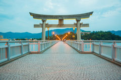 Night light on the bridge. With japan gate Stock Photos