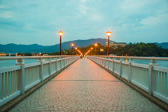 Night light on the bridge. With lamp royalty free stock photos