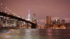 Night light brooklyn bridge panoramic 4k time lapse from usa stock footage