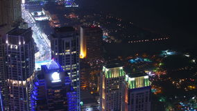 Night light buildings and traffic streets 4k time lapse from dubai stock video