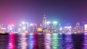 Night light colorful Hong Kong downtown bay panorama 4k time lapse China