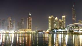 Night light dubai mall area 4k time lapse Stock Image