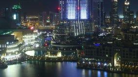 Night light dubai modern hotel 4k time lapse stock video footage