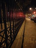 Night light. Fence light red night city way Stock Photo