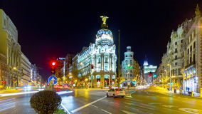 Night light gran via traffic metropolis panorama 4k time lapse spain