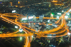 Night light, Highway intersection aerial view Royalty Free Stock Photo