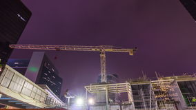 Night light hong kong center construction crane panorama 4k time lapse china stock video footage