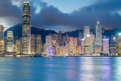 Night light Hong Kong city over Victoria bay Stock Photo