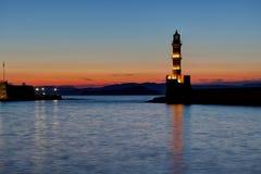 Night Light house harbor Hania, Crete, Greece Royalty Free Stock Image