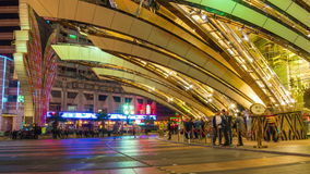 Night light macau famous hotel traffic entrance panorama 4k time lapse china stock footage