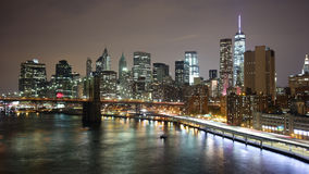 Night light manhattan bay 4k time lapse from new york city stock video footage