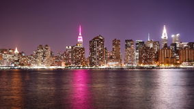 Night light manhattan famous buildings panorama 4k time lapse new york stock footage