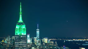 Night light manhattan roof tops of famous buildings 4k time lapse new york stock video footage