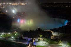 Night light over Niagara falls. Spotlight lighting at night over Niagara water fall near Toronto in Canada Royalty Free Stock Images
