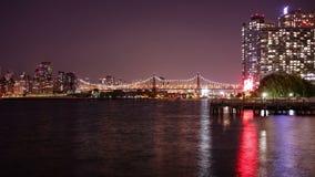 Night light queensboro bridge gantry plaza park panorama 4k time lapse new york stock footage