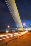 Night light at Rama 8 bridge. Rama 8 bridge at night wit light trails Royalty Free Stock Image
