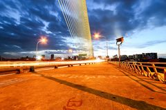 Night light at Rama 8 bridge. Rama 8 bridge at night wit light trails Stock Images