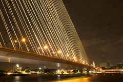 Night light at Rama 8 bridge. Rama 8 bridge at night wit light trails Stock Photography
