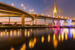 Night light reflection suspension bridge Stock Image