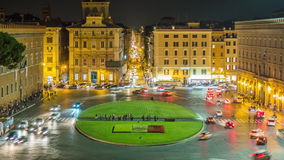 Night light rome city square piazza venezia traffic circle panorama 4k time lapse italy