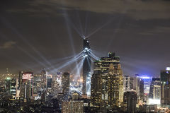 Night light show over CBD area in Bangkok Stock Photo
