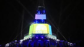 Night light show of the tower in Plovdiv, Bulgaria stock video footage