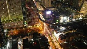 Night light silom traffic crossroad roof top panorama 4k time lapse bangkok thailand stock footage
