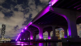 Night light sky miami famous downtown bridge illumination 4k time lapse florida usa