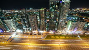 Night light time lapse from dubai road stock video footage