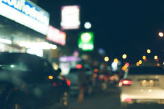 Night light of traffic car on the city street, abstract blur Royalty Free Stock Photos