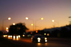 Night light of traffic car in the urban street Stock Photography
