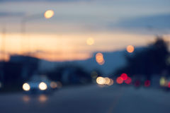 Night light of traffic car in the urban street Royalty Free Stock Images