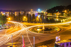 Night light traffic city, dalat city vietnam Stock Photos
