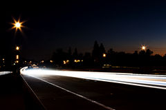 Night Light Trails From Cars On Road stock photography