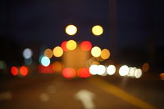 Night light of truck car on the city street, abstract blur Stock Photo