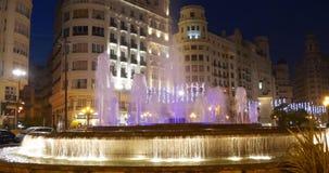 Night light valencia old town fountain 4k spain. Europe stock footage