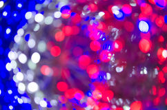 Night light White Red Blue bright bokeh background Stock Photo
