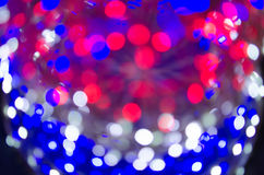 Night light White Red Blue bright bokeh background Stock Image