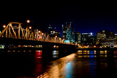 Night lighted bridge across the Willamette river in Portland stock images
