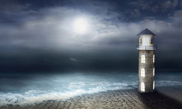 Night at the lighthouse Royalty Free Stock Image