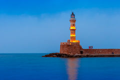 Night Lighthouse in old harbour, Chania, Crete Stock Photography
