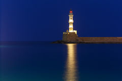 Night Lighthouse in old harbour, Chania, Crete Stock Images