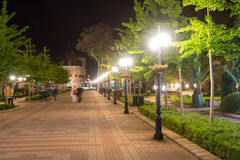 Night lighting in the central Pomorie Street, Bulgaria royalty free stock image