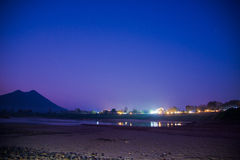 Night lighting on the Mekong river Royalty Free Stock Images