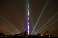 Night lighting in Moscow and TV Tower Stock Photography